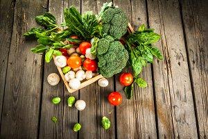 Fresh raw organic vegetables