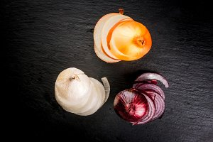 Different colorful onions
