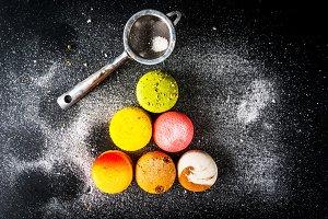 Selection of colorful macarons