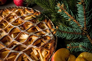 Apple pie with Christmas tree