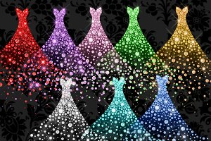 Diamond Gowns Clipart