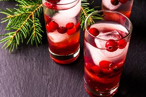 Refreshing cocktail with cranberry