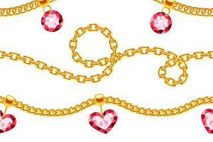 Golden chains seamless pattern