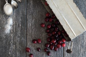Cranberry Basket Styled Stock Photo
