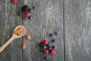 Nuts and Berries Styled Stock Photo