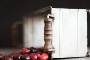 Cranberries and Farm Tin Stock Photo