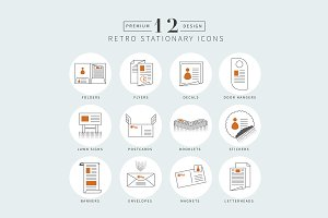 Retro Stationary Vector Icons