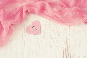 Valentine day background with hearts and flowing fabric, tinted