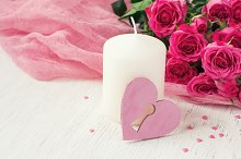 Valentin Day card with roses and candle
