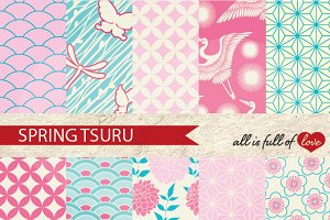 Spring Tsuru Japanese Patterns Set