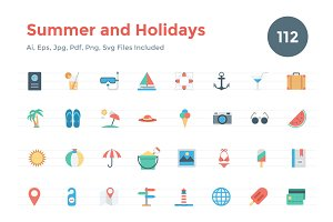 112 Flat Summer and Holidays Icons