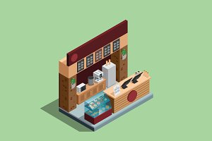 Isometric illustration - Coffee shop