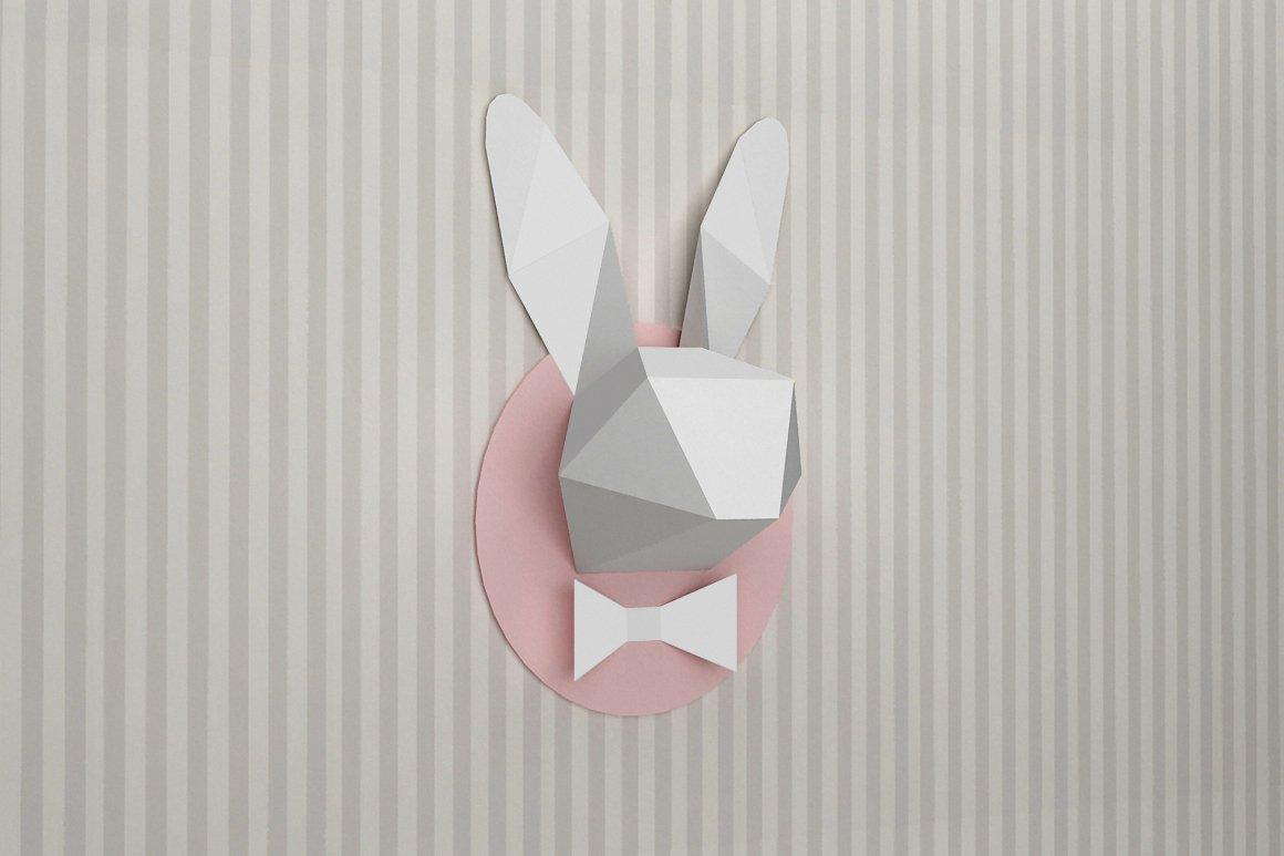 DIY Rabbit Trophy -3d papercrafts ~ Templates ~ Creative Market