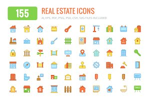 150+ Real Estate Colored & Line Icon
