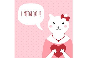 Funny Cat Valentine's day card
