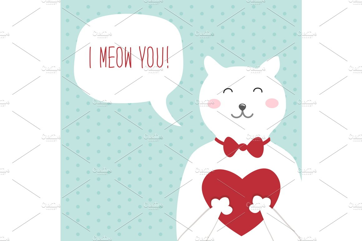 funny cat valentines day card illustrations creative market - Cat Valentine Cards