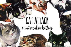 Cat Attack Watercolor PNG Collection