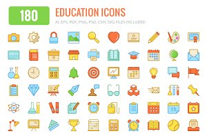 180 Education Colored and Line Icons