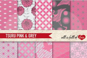 Pink Grey Japan Digital Patterns Set