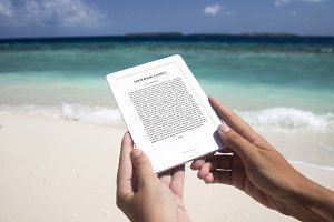 E-book Reader, MockUp, Beach