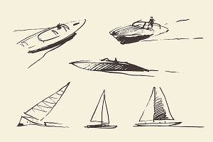 Sketches of the boats