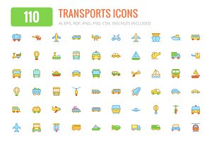110 Transports Colored & Line Icons