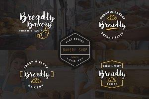 10 Bakery Shop Flat Script Logo