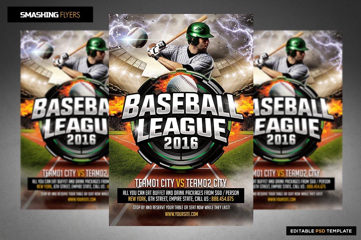 baseball league flyer template flyer templates creative market. Black Bedroom Furniture Sets. Home Design Ideas