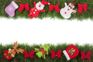 Christmas frame made of fir branches decorated with red bows Snowman and Santa Claus isolated on white background