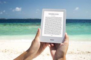 E-book Reader,MockUp, Beach