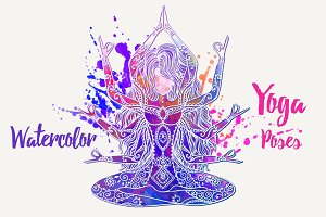 Yoga Watercolor PDF PNG EPS10