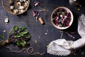 spring salad & cooking ingredients