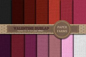 Valentine burlap digital paper