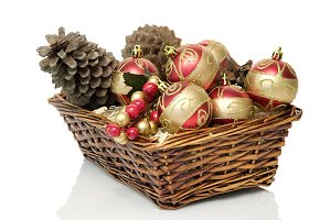 basket with ornaments