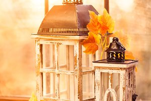 Vintage lanterns in autumn colors