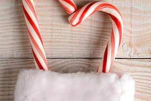 Candy Canes in Christmas Stocking
