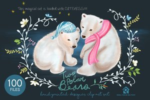 Two Polar Bears - Handpainted Design