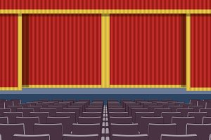 Theater curtains closed