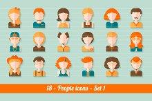 18 Flat people avatars (icons) kit
