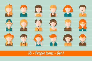 18 Flat people avatars (icons) kit