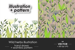 Wild herbs design + patterns set