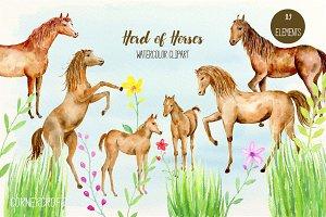 Watercolor Herd of Horses