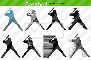 Silhouette of baseball player. Set