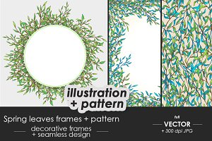 Spring decorative frames + pattern