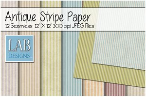 12 Antique Striped Papers