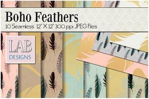 10 Bohemian Feather Textures