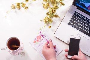 Blogger Laptop Workspace