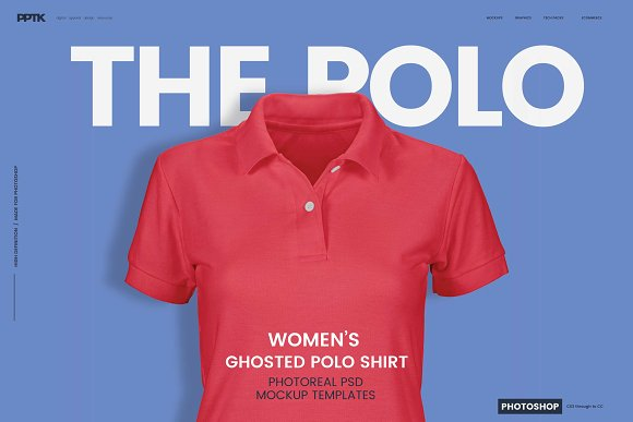 Download Womens Ghosted Polo Shirt Templates
