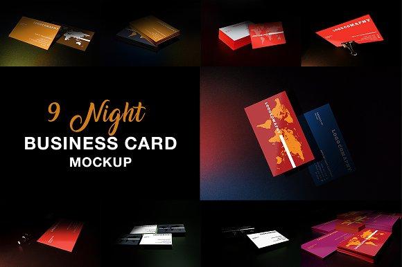 9 Night Business Card Mockup