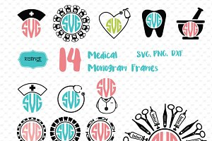 Nurse, medical monogram frames svg
